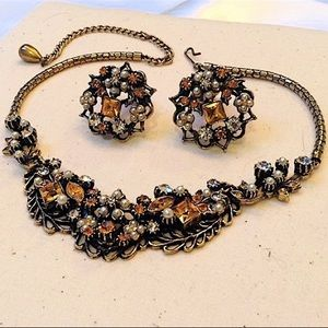 Mid Century Necklace Earring Set Topaz Pearl Mint